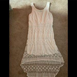 size xl white lace high low dress